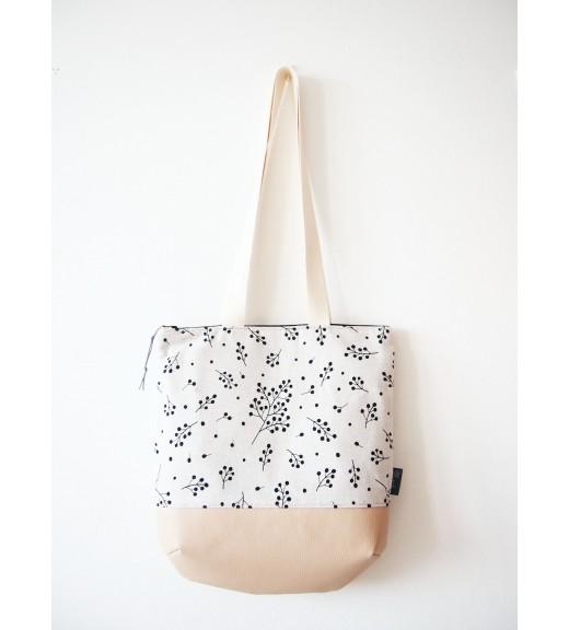 Veľká režná taška na plece - vetvičky s béžovou