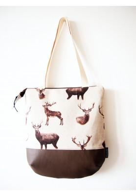 Veľká režná taška na plece - jelene