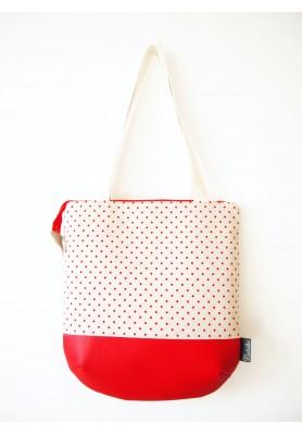 Veľká režná taška na plece - červené bodky