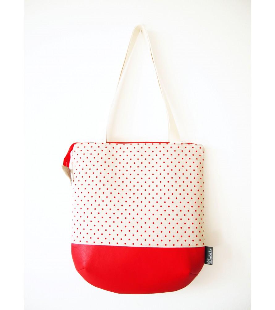 Veľká režná taška na plece - červené bodky 8f63ed00eb1