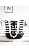 Veľká taška na plece - minimal v čiernobielej