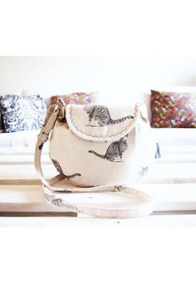 Malá režná kabelka - mačky