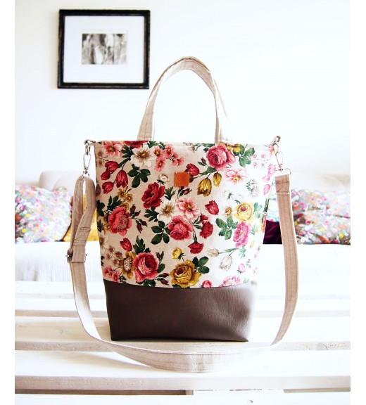 VÝPREDAJ - Veľká režná taška - šípové ruže