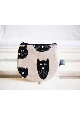 Peňaženka  režná - mačky s čiernym zipsom