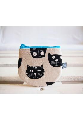 Peňaženka  režná - mačky s tyrkysovým zipsom