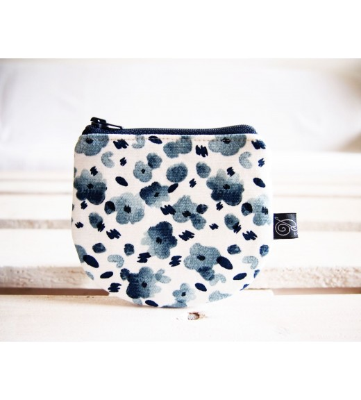 Peňaženka - modré minimal kvietky
