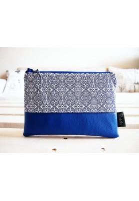 Kozmetická taška veľká - ornamenty v modrej