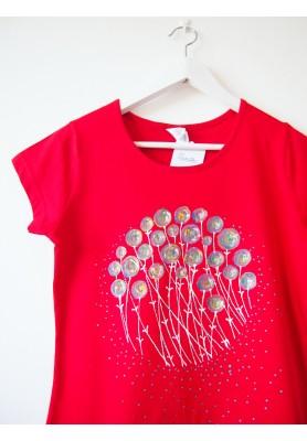 VÝPREDAJ-Tričko červené s pestrofarebnou maľbou - M