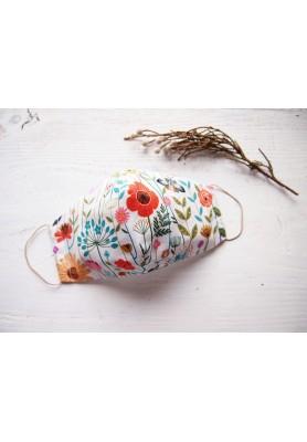 Rúško za uško - dámske - záhrada v bielej
