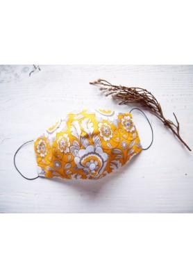 Rúško za uško - dámske - ornament v žltej