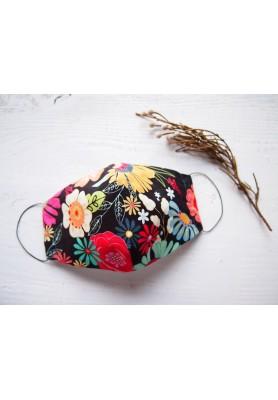 Rúško za uško - dámske - farebné kvety na čiernej