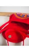 Maľovaná červená folk kabelka