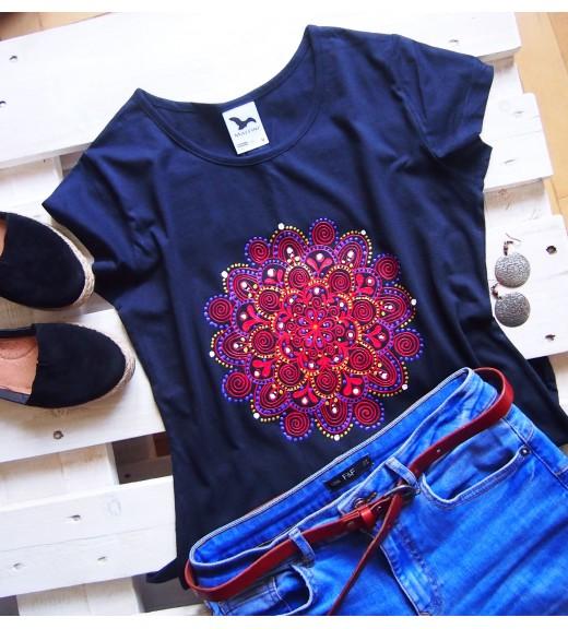Tričko tmavomodré s červenou mandalou - M