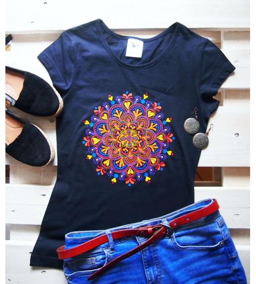 Tričko tmavomodré s jesennou mandalou - XS