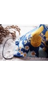 Rúško za uško - dámske - veľké kvety na modrej