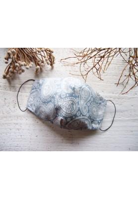 Rúško za uško - dámske - kašmírový vzor v sivomodrej