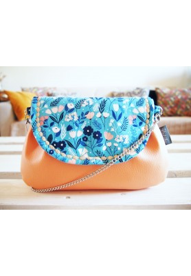 Modro-lososová kabelka s retiazkou