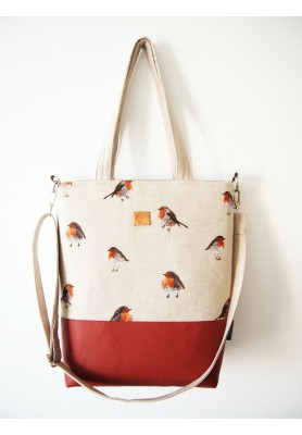 Veľká režná taška - vtáčiky s škoricovou III