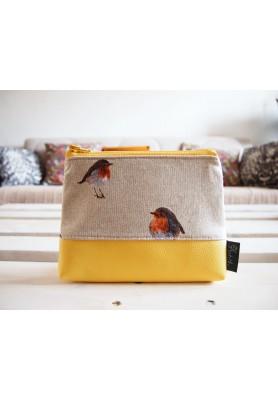 Kozmetická taška veľká režná -  vtáčiky so žltou