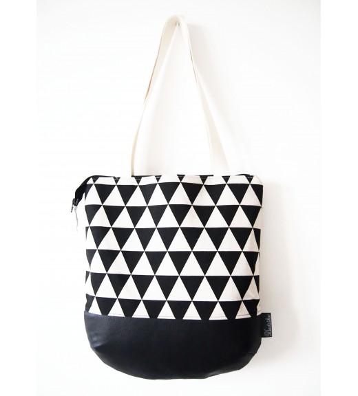 Veľká režná taška na plece - minimal trojuholníky