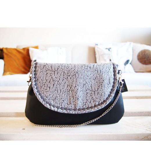 Čierna kabelka s retiazkou - sivé vetvičky