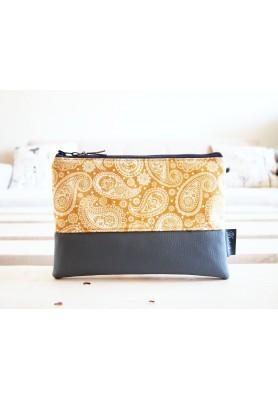 Kozmetická taška veľká - kašmírový vzor v zlato-žltej