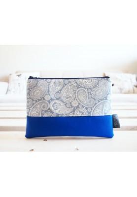Kozmetická taška veľká - kašmírový vzor v modrej
