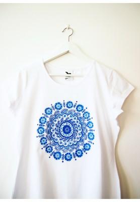 Tričko biele s modrou mandalou - L