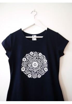 Tričko tmavomodré s bielou mandalou - M