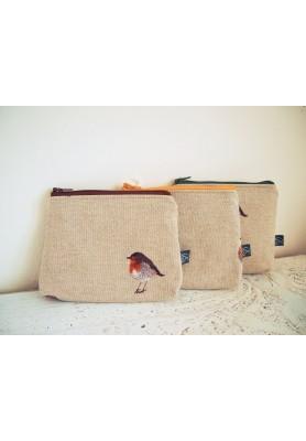 Kozmetická taštička malá režná - vtáčik s hnedým zipsom