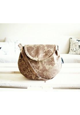 Malá režná kabelka - ornamenty v olivovej