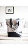 Veľká taška - minimal - sivobiela s tmavosivou koženkou