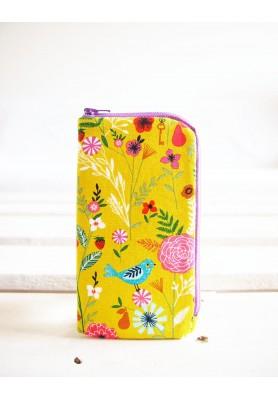 Obal na mobil - stredný - vtáčik na žltozelenej