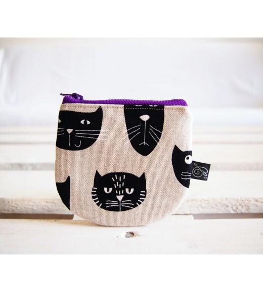 Peňaženka  režná - mačky s fialovým zipsom