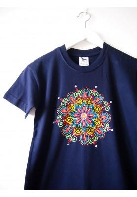 Detské tmavomodré tričko s mandalkou - 10r.