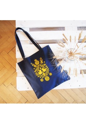 Ekotaška maľovaná - modrá s žltým folk vzorom