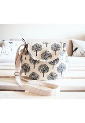 Malá režná kabelka -  stromy v béžovej