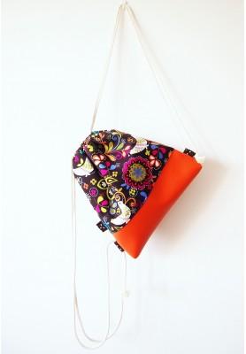 VÝPREDAJ-Hnedý folk batoh s oranžovou koženkou