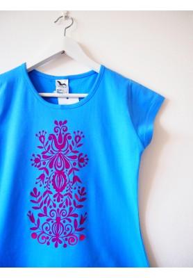 Tričko modré s ružovou maľbou - S - VÝPREDAJ